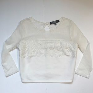 White Sheer Lace Crop Top